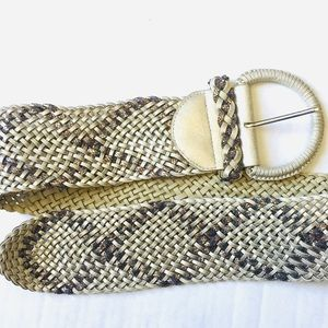 WHBM Metallic Wide Weaved Braided Belt Sz M